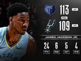 杰克逊24+6+5灰熊胜马刺